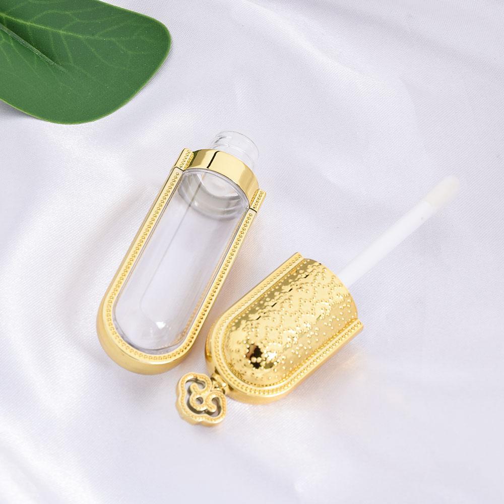 DIY 3 ml Altın Taç Baş Dudak Sır Hollow Konteyner Lipgloss Tüp Ruj Şişe Fırçası Doldurulabilir Şişeler