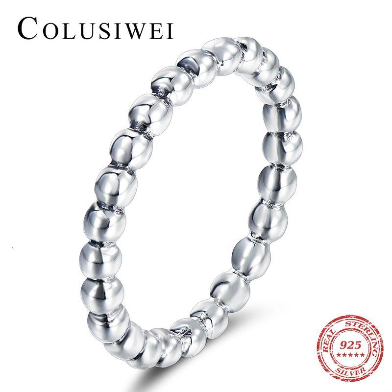 COLUSIWEI 2020 Heißer Kauf 925 Kralen für Frauen Bruiloft 100% 925 Sterling Silber Stapelbare Fingerring Schmuck