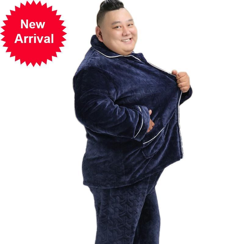 Плюс размер 150 кг зима утолщение утолщения теплых пижамов повседневная фланелевая пижама с длинными рукавами с длинными рукавами спящая мужская пижама homme1kue1kuekk90