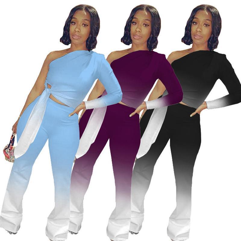 XT067 manga comprida 2 pcs gradient colher de cor fitness alta cintura apertada leggings esportes colheita de topo terno para as mulheres
