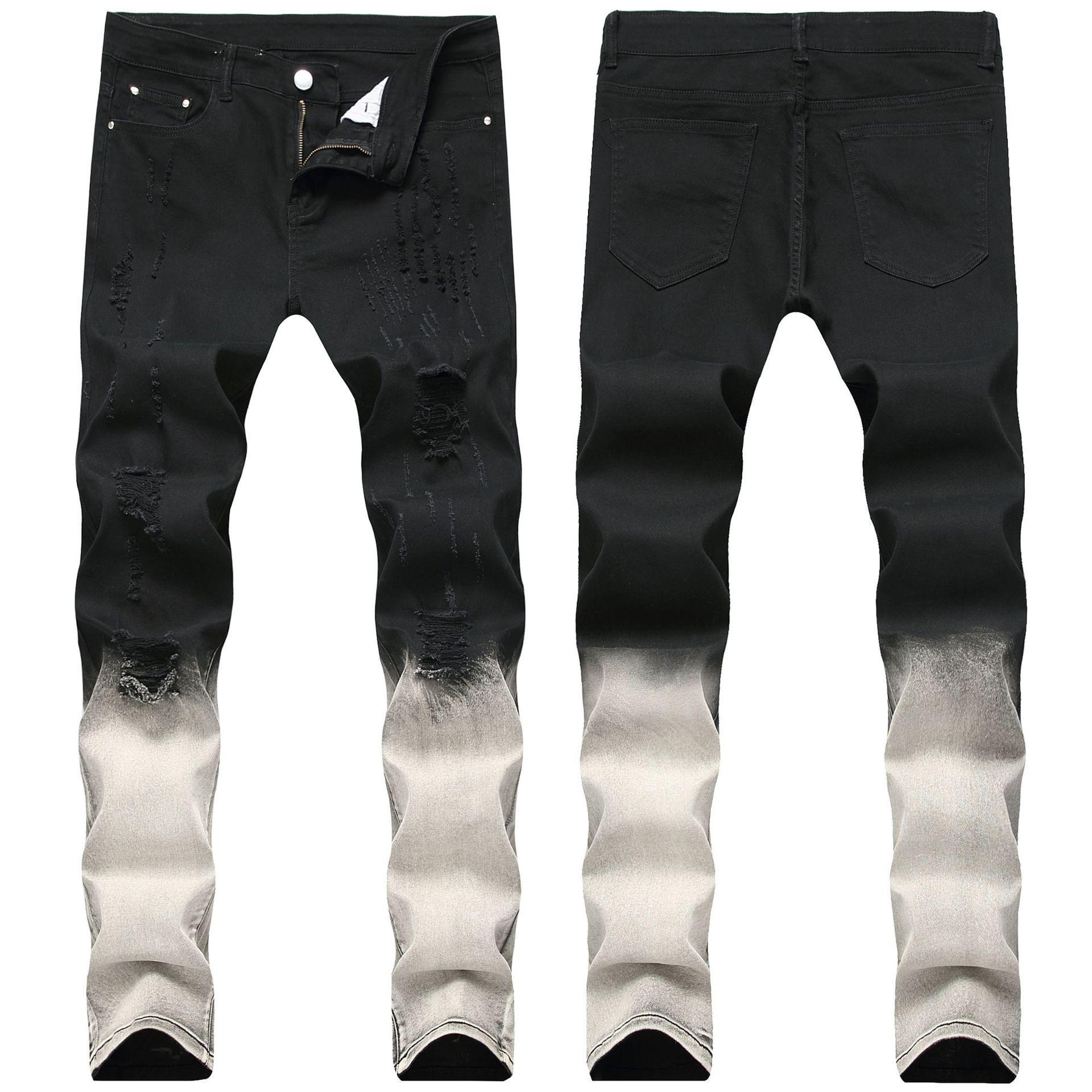 Sıska Erkek Siyah Kot Serin Erkekler Yırtık Kot Streç Slim Fit Denim Biker Jeans Hip Hop Erkekler Streetwear 1866 #