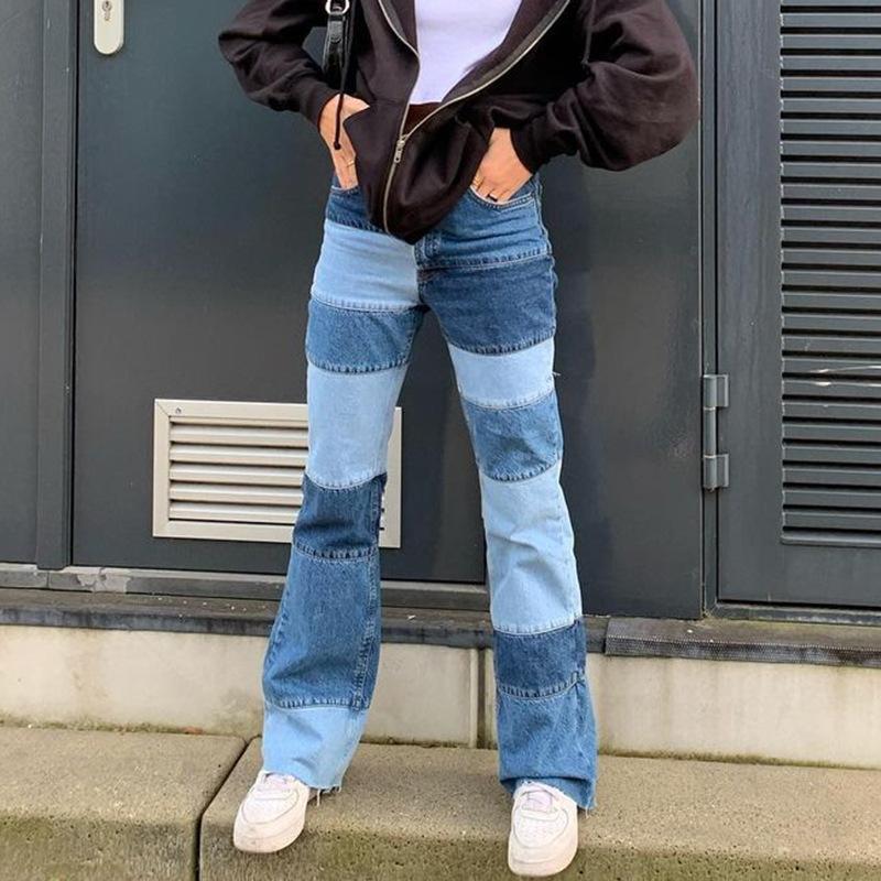 Meqeiss hip-hop style haute taille pantalon de taille haute d'automne hiver street perturbant usure de pantalon contraste patchwork femelle mince pantalon évasé w0104
