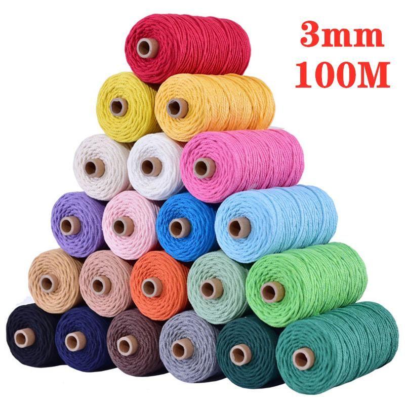 Fornitura decorativa Avvolgimento del filato 3mm x 100m Cavo di cotone 5 pz / lotto Colorful Rope Filo Twisted Macrame String String fai da te Handmade Home Textile