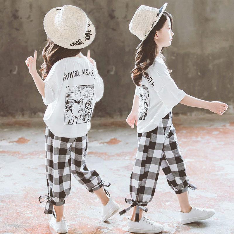 2020 여름 여자 의류 여자 의류가 8 10 12 14 년 학교 옷 Y1113에 백업 십대 소녀 반팔 T 셔츠 + 캐주얼 바지를 설정합니다
