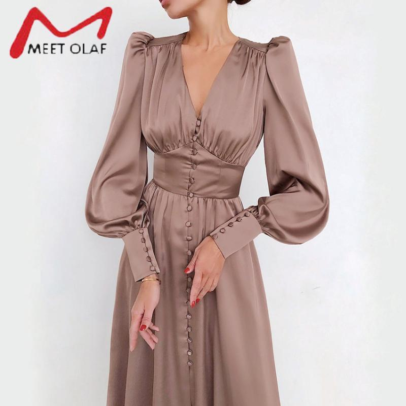 SIMPLE SEXY SEXY ROBE PARTIE CLUT CLUT HIGH TAILLE SATIN ROBE LANDE ELEGANT V CL COU FEMMES Robes Midi Robes Midi Sleeve