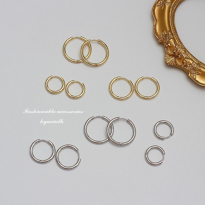 S925 2021 NOUVEAU Taille Cercle Boucles d'oreilles Boucles d'oreilles Tempérament Personnalité Net Rouge Simple Wild Oreille bijoux femmes