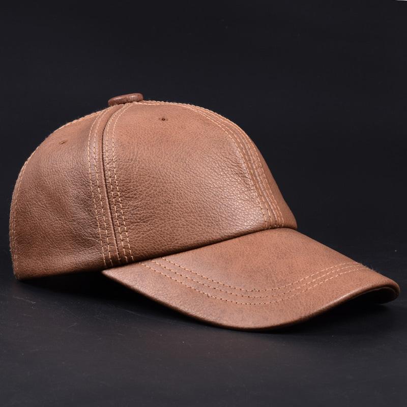 RY9112 Markened neue männliche lässig Echtes Leder Baseballmütze für Männer Echt Rindsleder Schwarz / Beige Dad Hüte Herren Große Krause Cool Hat Y1130