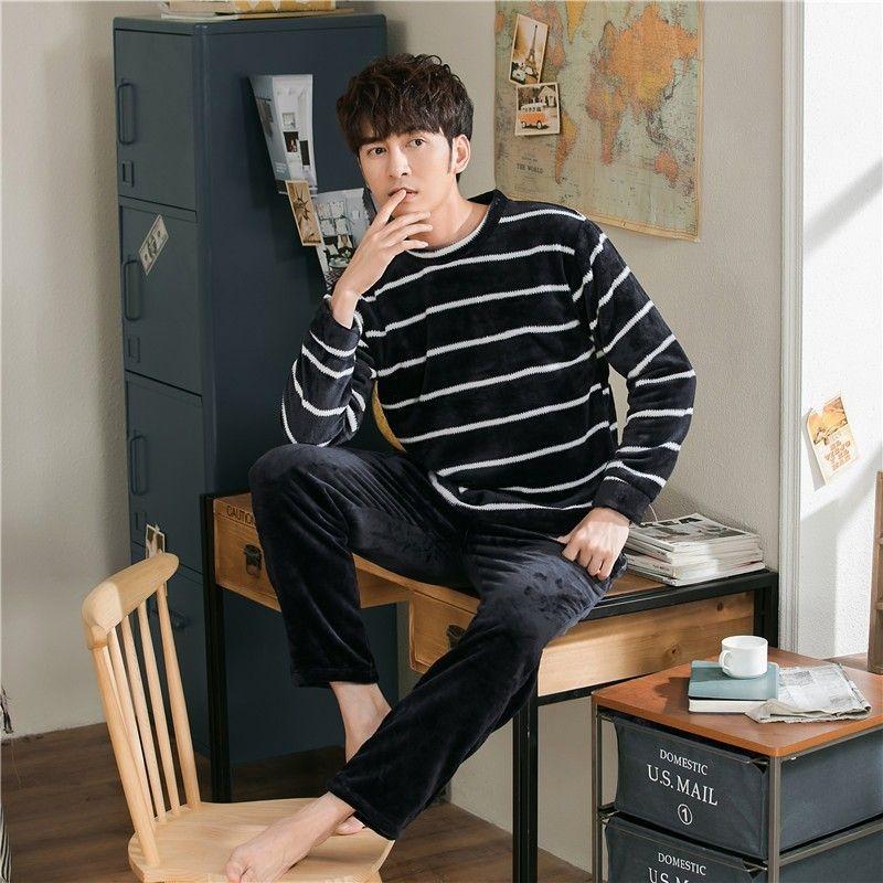 Casual Flannel 2 Pz Pigiami Set Inverno caldo Mens Pigiama Sleep Sleet Suit Manica lunga Pantaloni Top Pantaloni Lingerie O-Collo Sleepwear Homewear