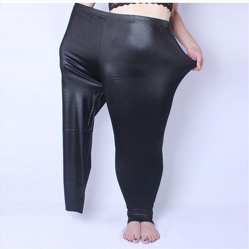 Женщины леггинсы поддельные кожи плюс размер 5xL большие размеры женщин одежда большие тонкие длинные брюки женщин легинов черный