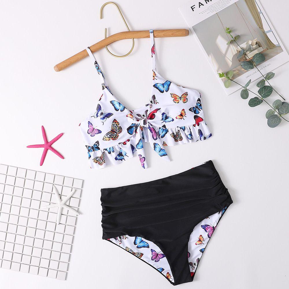 Mode Frauen Badebekleidung Sommer neue sexy doppelseitige Schlinge Schmetterling Druck Split Bikini Badeanzug Größe S-XL