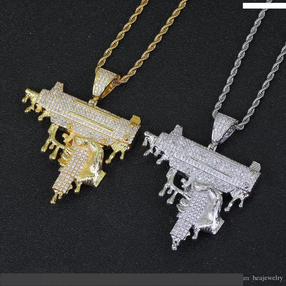 El Damlatıcı Tabancası Şekli Kolye Kolye Altın Renk Buzlu Kübik Zirkonya Erkekler Hip Hop Kaya Takı