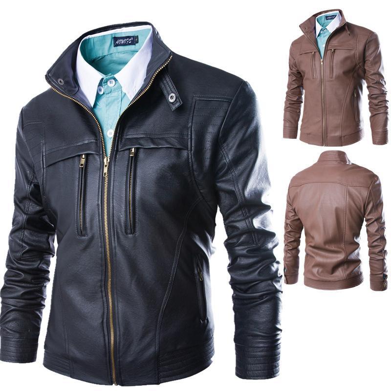 Hommes Automne Printemps Faux Vêtements Male Vêtements Casual Vêtements Plus Taille 4XL Vestes de Pu pour homme Manteaux Veste en cuir de moto
