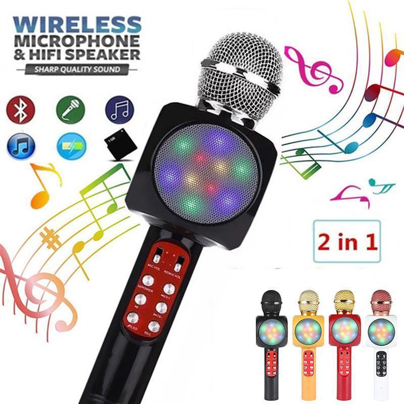 W1816 Microphone sans fil Microoke de karaoké Bluetooth portable W / Haut-haut-parleur Light Handheld Player Enregistreur de chant