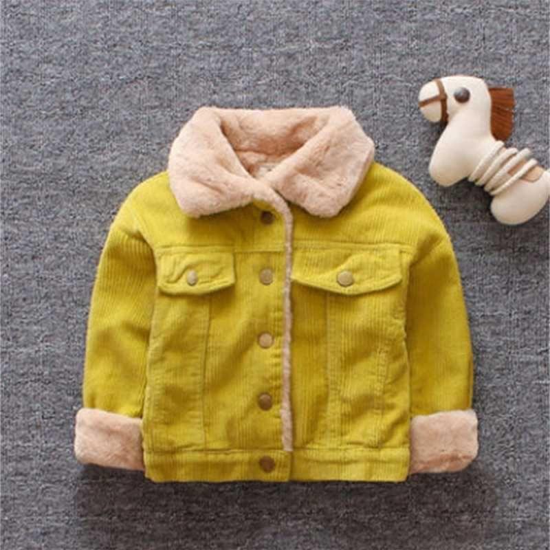 baby kids coat boys Fashion corduroy long sleeve casual outwear girls faux fur thicken warm jacket children winter clothes A4035 HLUA