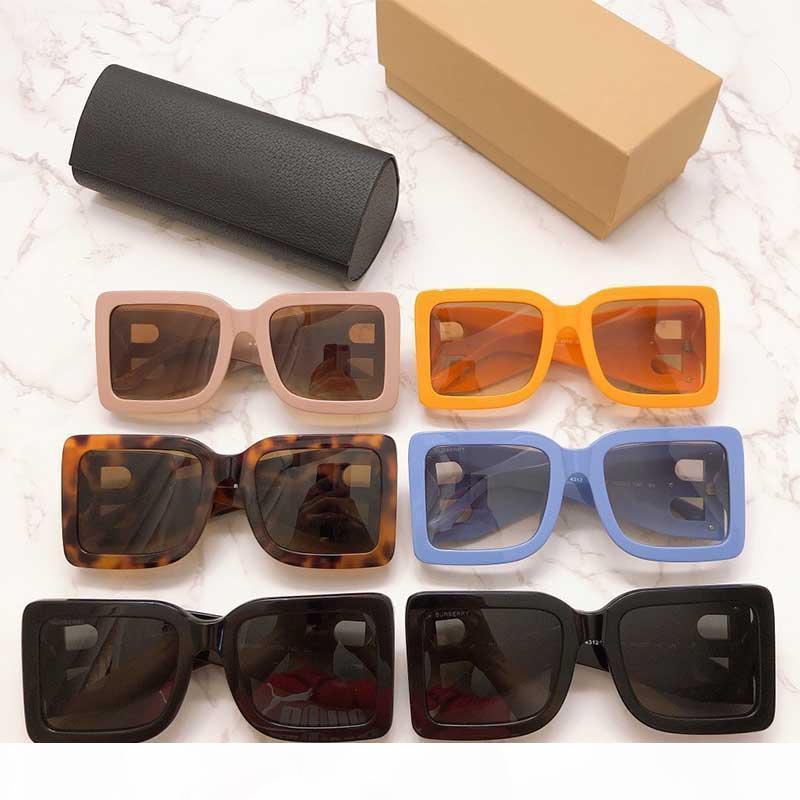2020 neue Saison Weibliche Designer Sonnenbrille Square Plattenrahmen Große doppelte B-Buchstabenbeine Einfache Mode-Stil UV400 Gläser BE4312 mit Box