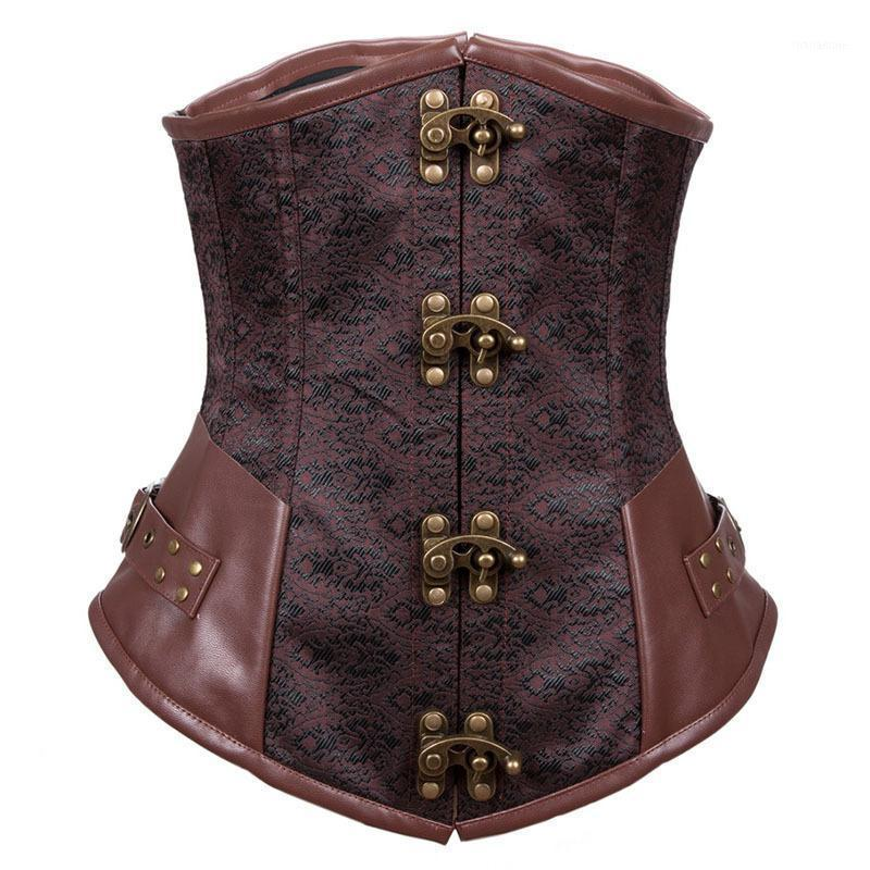 Bustiers & Corsets Brown Sexy Waist Trainer Steel Boned Corset Underbust And Vintage Gothic Clothing Corsetto Steampunk Corselet1