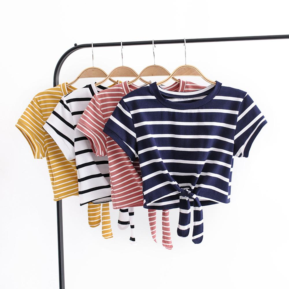 Women Casual Striped Knot Front Tee Crop Tops F1215