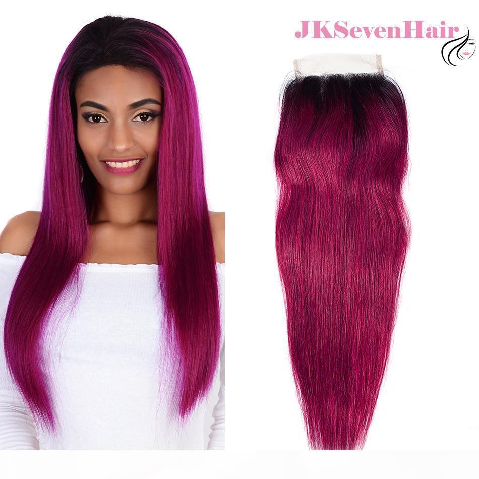 1b rosado rosa recto brasileño virgen cabello 4x4inch encaje cierre oscuro rosa rosa indio indio malayo peruano bebé pelo libre parte