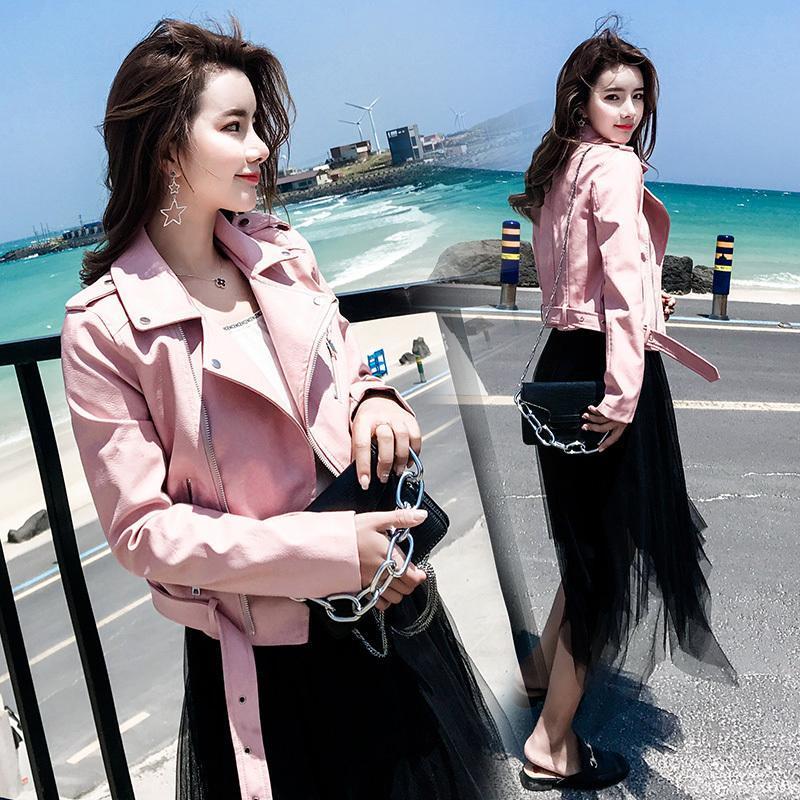 2020 Новая весна осень PU кожаная куртка Поддельный мягкая кожа полупальто Тонкий черный Rivet молния мотоцикла розовый Жакеты LX2597
