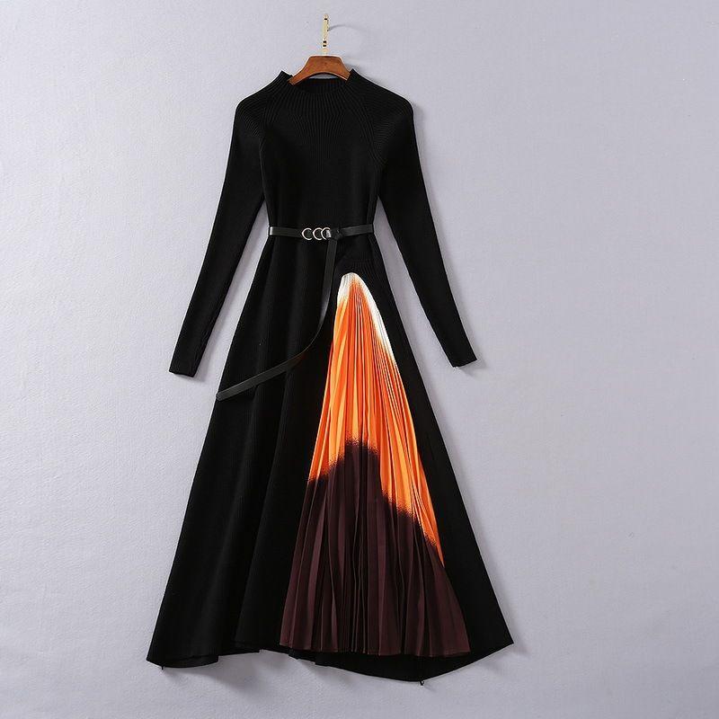 유럽과 미국 여성의 착용 2020 겨울 새로운 스타일 긴 소매 니트 모자이크 인쇄 패션 주름 leated 드레스