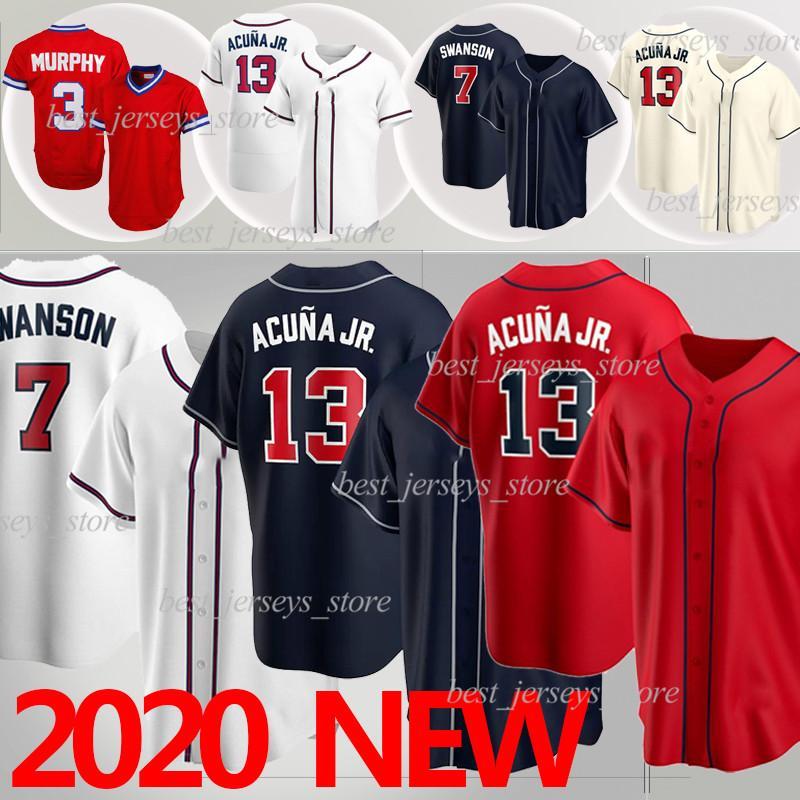 Atlanta Jersey 13 Ronald Acuña Jr.  Braves Baseball Jerseys 5 Freddie Freeman 3 Dale Murphy 7 Dansby Swanson 2021 맞춤 야구 유니폼