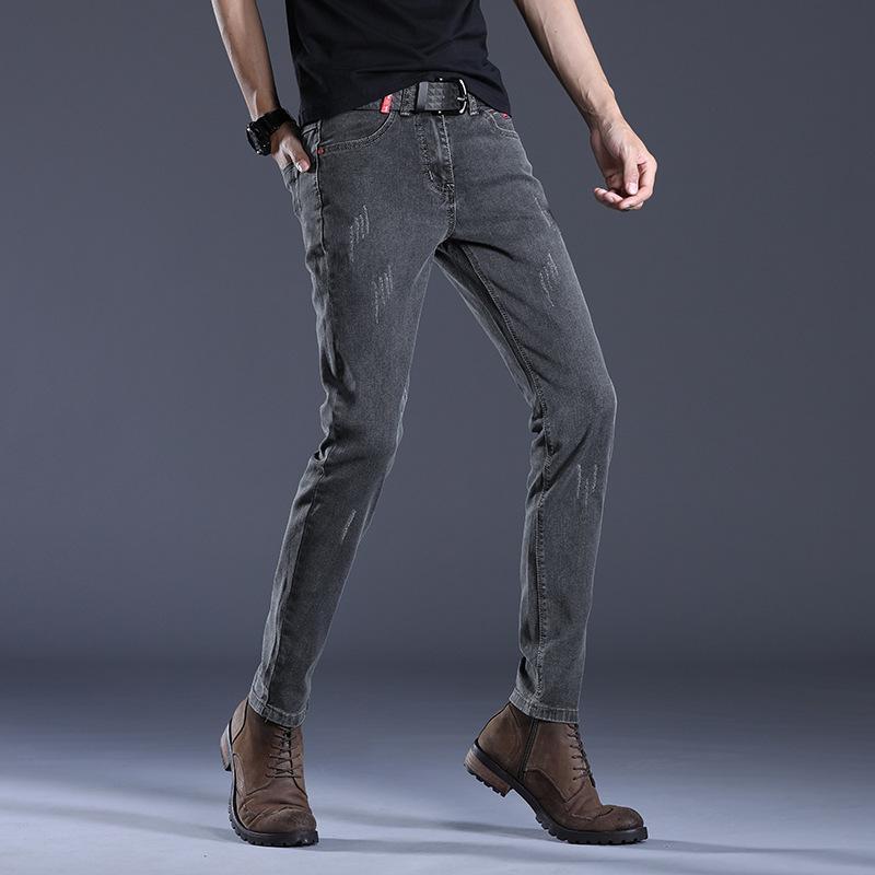 Мужчины черные джинсы мужские тонкие упругие упругость корейский стиль тренд мужские брюки повседневные брюки