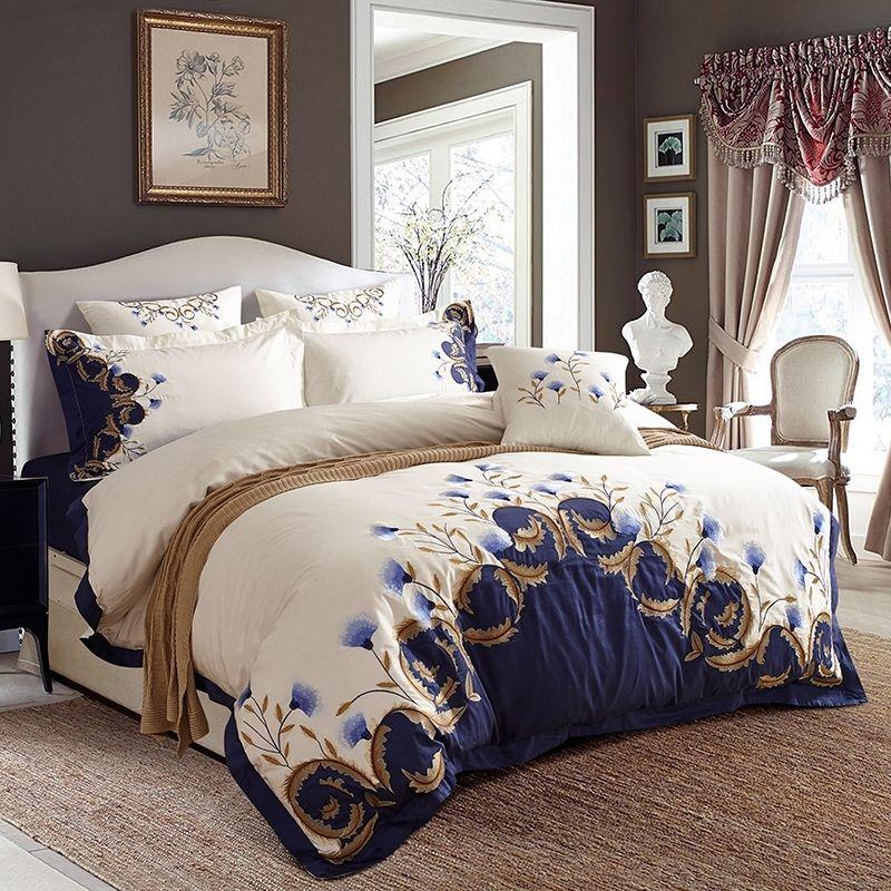 США король king queen размер шикарный вышитый белый синий роскошный постельное белье 60s египетская хлопчатобумажная кровать комплект одеяла наволочка 201120