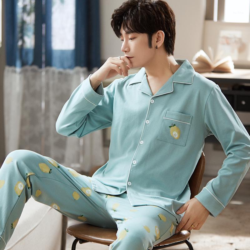 Hiver hommes pyjamas ensemble bleu sexy cardigan pyjamas mignon citron motif de nuit vêtements de nuit décontractés masculin homewear coton vêtement de nuit1