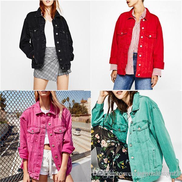 Lapel pescoço vestuário feminino estilo moda vestuário casual fashion desginer jeans jumbters cor sólida manga comprida