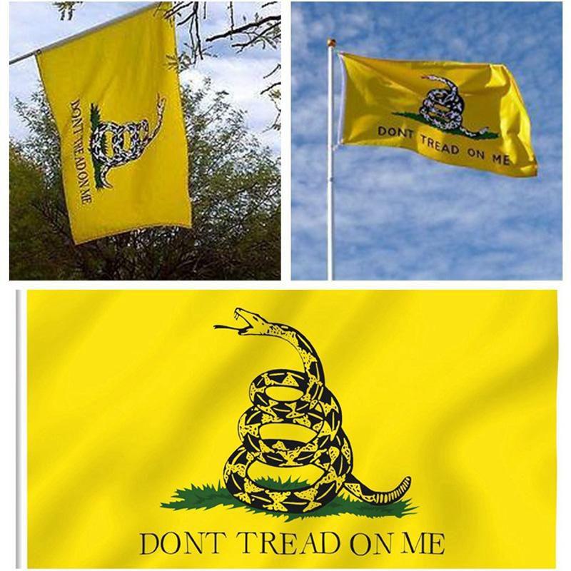 Ev Bahçe Dekor Yılan Bayrağı 90 * 150 cm Sarı Yılan Gadsden Devlet Bayrağı Çay Partisi Culpeper Me Flag Banner