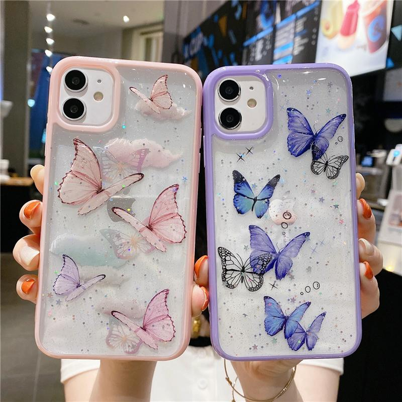 Bling Bling Phone Custodia per iPhone 12 Mini 11 Pro Max Butterfly Giltter Case Cover per iPhone XR 8 7 Plus Shell Clear