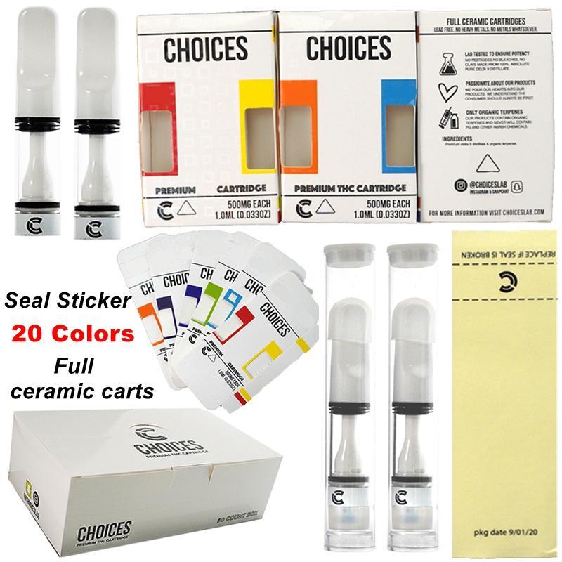 선택 vape 카트리지 전체 세라믹 오일 카트 Atomizers 홀로그램 포장 20 색 510 스레드 vapes 펜 0.5ml 프레스 씰 스티커 전자 담배 빈 도매