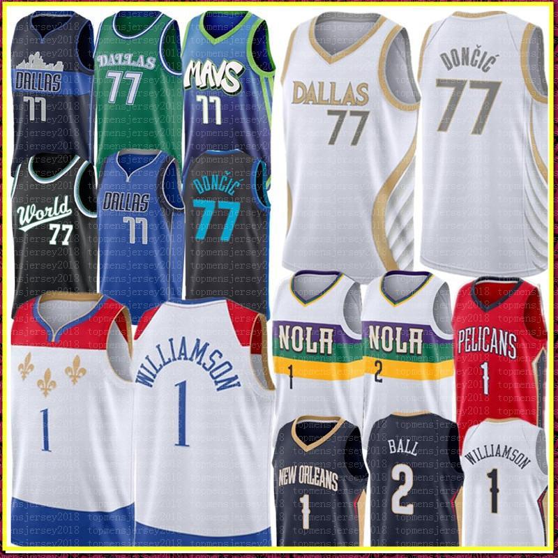 2021 Лука 77 Новый Долгический Джерси Сион 1 Уильямсон Джерси Лонгзо 2 Баскетбол Джерси сшитые логотипы Джерси S-XXL