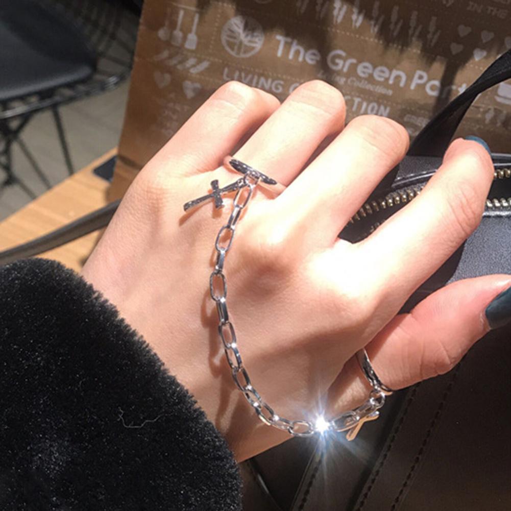 Argento color placcato retrò punk hip hop croce anello a mano a mano catena dito anelli regolabili anelli gioielli regalo per uomini donne anello unisex
