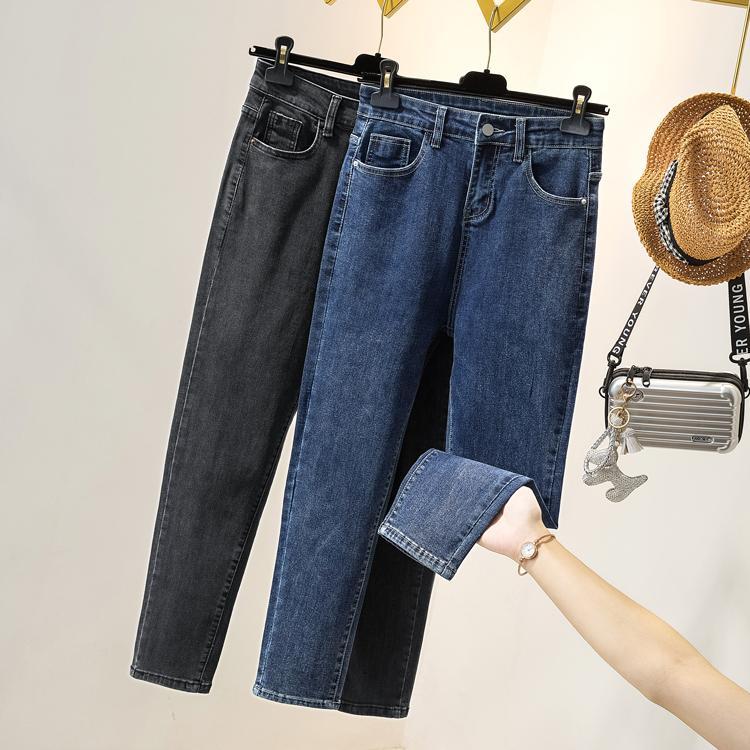 Koreanse Vrouwen Hoge Taille Jeans Streetwear Vintage Zwart Alle Maç Bayan Moda Streç Casual BROEK MET Y1214