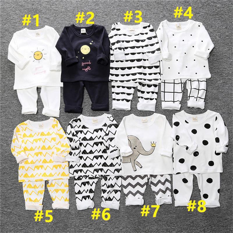 Дети Pajamas Sets Ins ins in Дети мальчик девочек малышей с длинным рукавом дома две части одежда хлопчатобумажная одежда футболки брюки наряды G12802