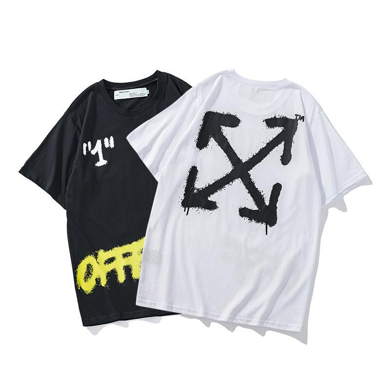 Chao Brand Spring and Summer New Short Sleeve Ow Bangkok Limited Ink Splashing Graffiti Cotton T-shirt Offf