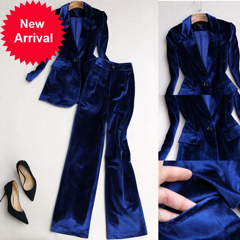 Tenue 2 pièces pour femmes Automne et hiver Nouvelle mode Femelle Femelle Femelle Jack Femme Ventille Grand Pantalon Costume Deux-Piece0zrt
