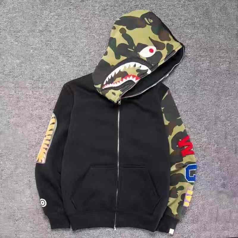 18AW 새로운 남성용 옷 후드 재킷 회색 위장 상어 인쇄 남성 패션 코튼 후드 스포츠웨어 내부 양털 hoody sweatshirt