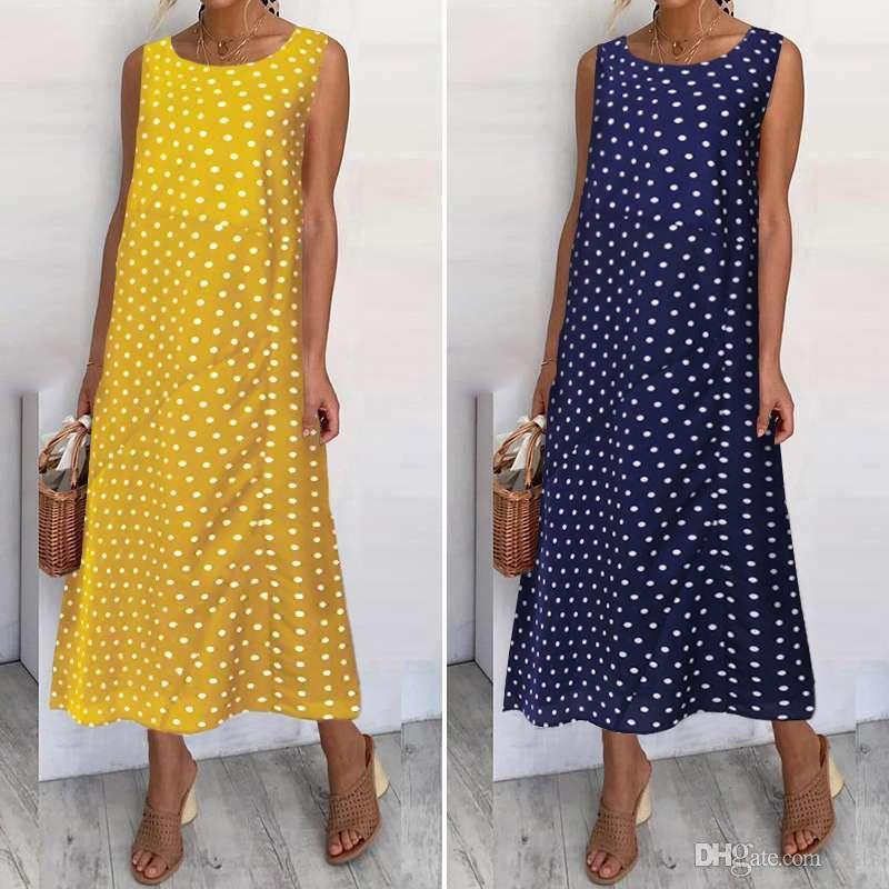 2020 Sommerstrand Sommerkleid Vintage Frauen Polka dot Sleeveless Midi Casual Lose Sommerkleid Femme Party Übergroße Vestidos 5xl Robe