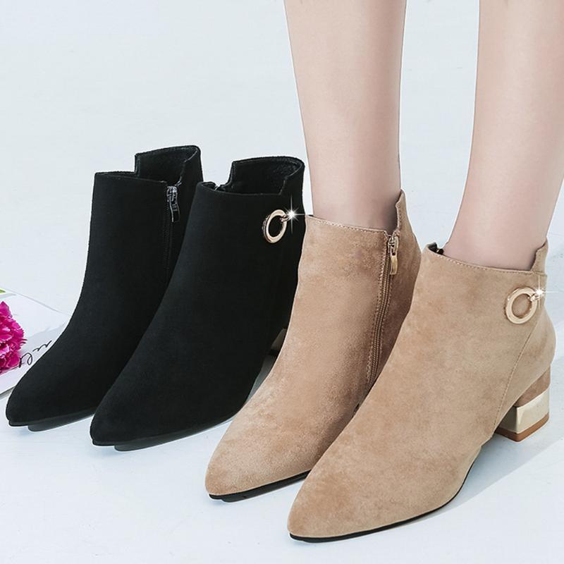 Botas de gamuza de invierno bandada de mujer ocio sólido puntiagudo puntiagudo tacón tacón cremallera cuadrado mediodas zapatos mujer con peluche caliente