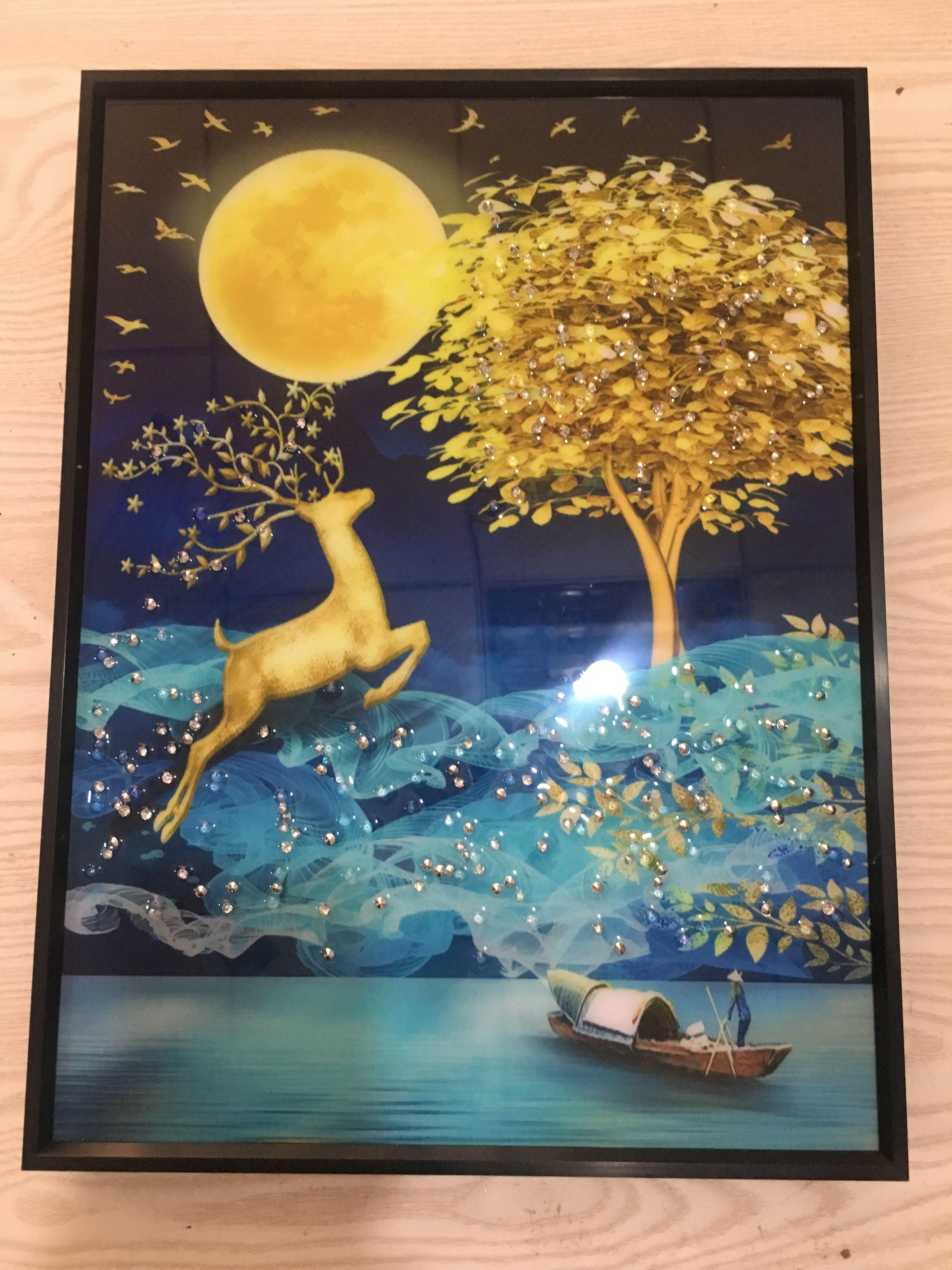 Saf el mozaik karo baskı ev dekorasyon için çerçeveli tuval ile geyik ağacı kaybetti (