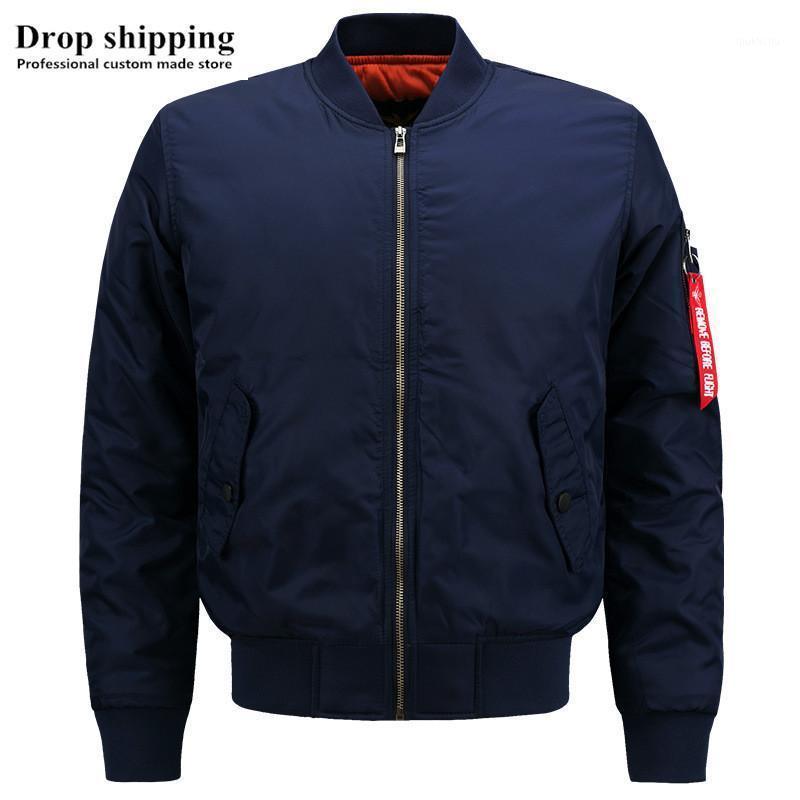 Drop Shipping US-Größe Mode Lässig Reißverschluss Blau Jacken Herren Bomberjacken Winter Dicke Warme Männer Mäntel Akzeptieren Sie Custom Made1