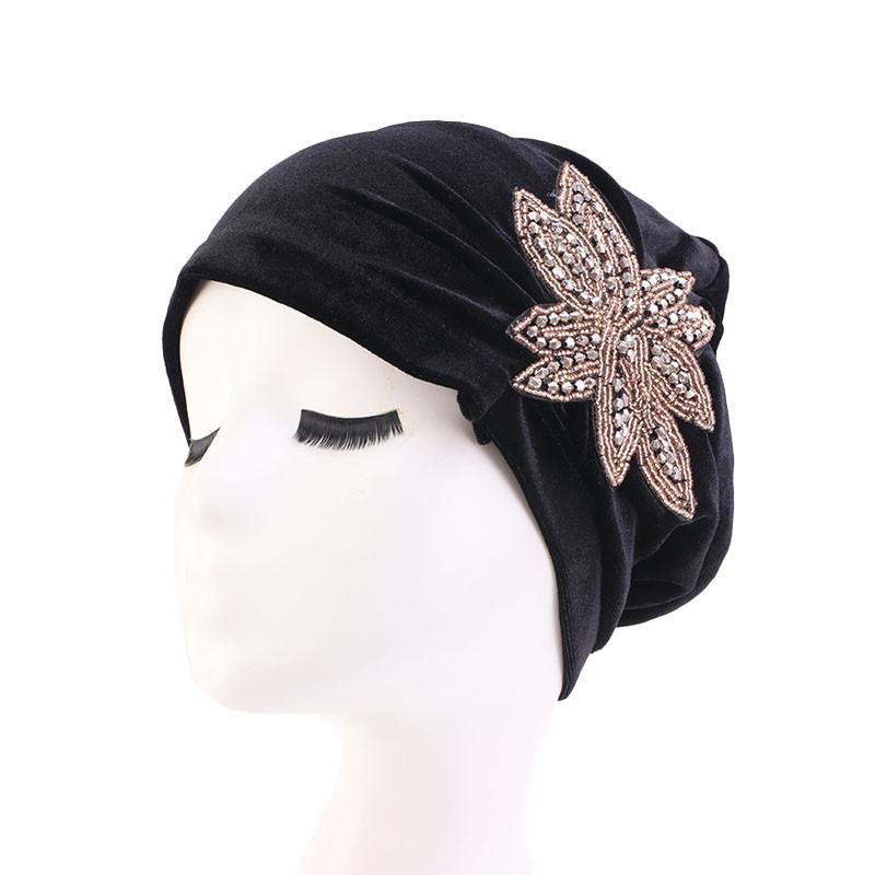 Donne musulmane calde di velluto di velluto fiore turbante cappello tubo del cancro chemioterapia chemioterapia cappucci testa avvolgere copricapo per capelli