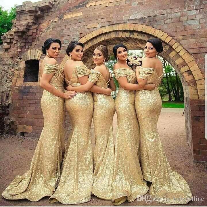 Elegante Off Ombro Backless Lantejoulas Dridesmaid Vestidos de Ouro Praços de Chão Própria de Honra Vestidos de Casamento Vestido de Convidado Plus Size
