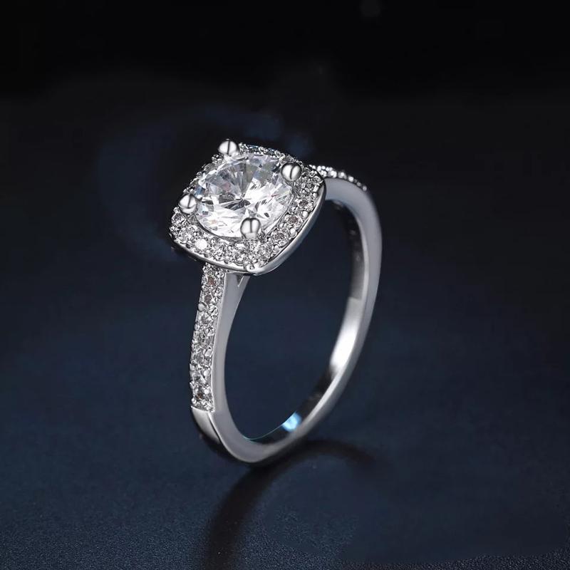 Heißer Verkauf exquisiter und vielseitiger doppelter Square Zirkon kreativer runder Diamant-Mosang-Steinring mit Diamantring-DHL frei