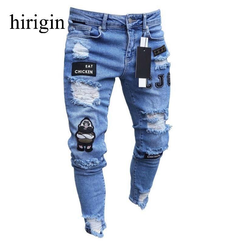 Мужская одежда хип-хоп спортивные штаны тощий мотоцикл джинсовые брюки молния дизайнер черные джинсы мужские повседневные мужчины джинсы брюки 201120