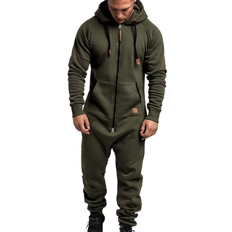 Men's Suit Jumpsuit Garment Pyjama Winter Men Splicing Hoodie One-piece Pajamas Sets Loose Zipper Overalls Hombre Tracksuits 201123