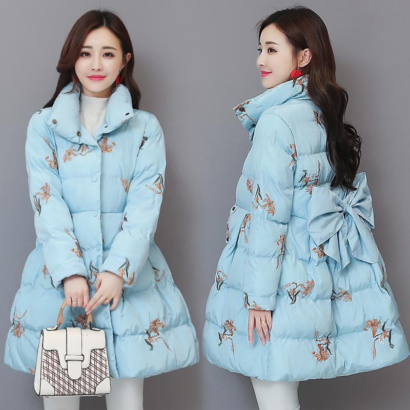 Winter 2020 New Women Parkas Print Down Long Coat Parka Warm Thicke Cotton Padded Jacket Outerwear P1000