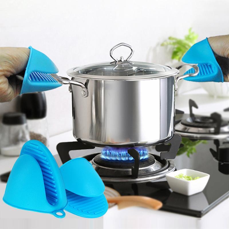 Gants de four anti-brûlure en silicone Mitts Potholder Cuisine Barbecue Barbouillère Plateau Pot Pitaine Porte-Course Four Pince à mains